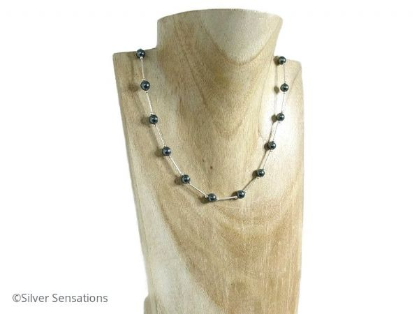 Swarovski Tahitian grey Pearls & Sterling Silver Tubes Necklace | Silver Sensations